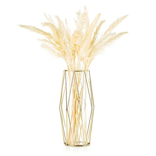 Vase Für Pampasgras, Glasgoldvase Hochbodenvase Mit Geometrischem Metallgestellständer, Knospenblumentopf Für Skandinavische Dekoration Für Schreibtischbürohochzeitsmittelstück