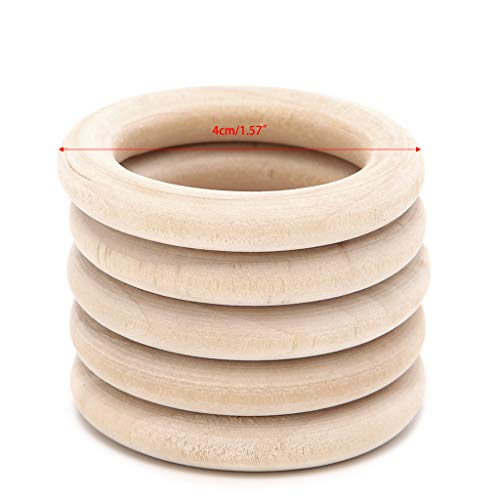 Desconocido Generic 5Pcs Natural Wood Circle Ring Pendant Connectors Beads DIY Jewelry Findings 40mm