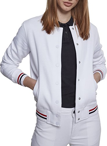Urban Classics Damen 3-Tone College Sweatjacke, White/firered/Navy, S
