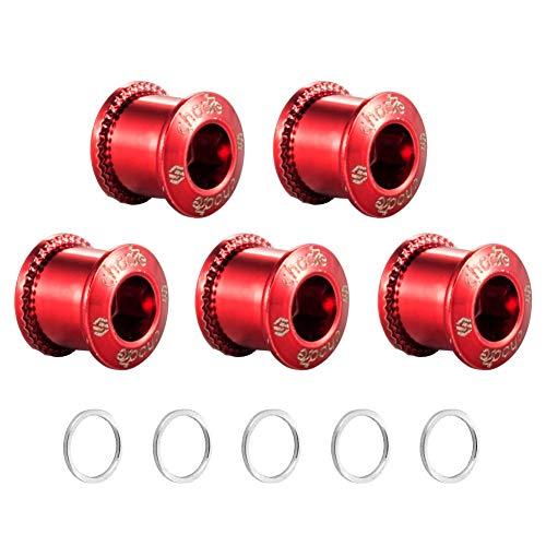 Chooee Singoli/Doppia Bulloni Corona per Bicicletta,M8 Corona Viti per MTB/Bici da Strada, 5 Set Rosso