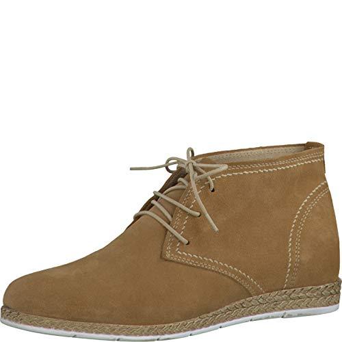 Tamaris Schuhe 1-1-25213-28 Bequeme Damen Stiefel, Espandrilles-Optik, Boots, Sommerschuhe für modebewusste Frau, braun (Camel), EU 37
