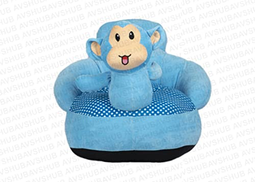 AVSHUB Monkey Shape Baby Soft Plush Cushion Baby Sofa Seat or Rocking Chair for Kids Gift for 0 to 4 Years Baby - Blue