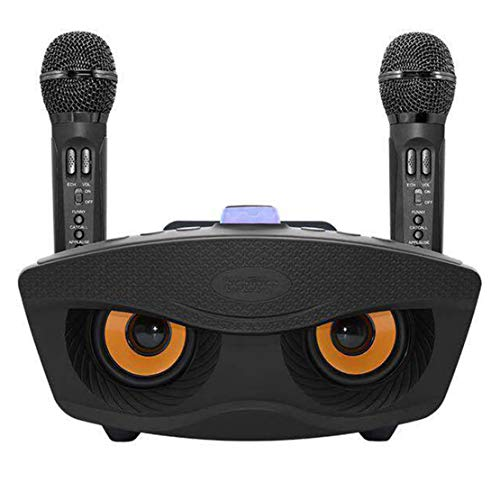 xiaohuozi Micrófono Dual Inalámbrico Bluetooth con Altavoz Micrófono de Canto Casero Adecuado para Reuniones Familiares Cantando Juegos,Black