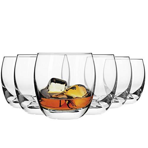 Krosno Bicchieri Whisky Vetro | Set di 6 | 300 ML | Collezione Elite | Ideale per la Casa, Ristorante Feste e Ricevimenti | Adatto alla Lavastoviglie e Forno a Microonde