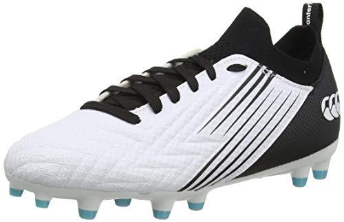 Canterbury Speed 3.0 Pro Firm Ground, Zapatillas para Rugby Hombre, Blanco Negro Azul Ángel, 46.5 EU
