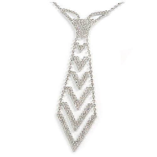 Unbekannt Avalaya Krawatten-Halskette mit Stern-Motiv, versilbertes Metall, 30 cm lang, 15 cm Verlängerung 16 cm