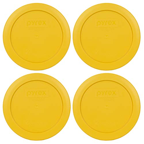 Pyrex 7200-PC 2 Cup Butter Yellow Round Plastic Food Storage Lids - 4 Pack