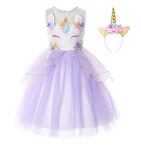 JerrisApparel Disfraz Unicornio Niña Volantes Flor Boda Partido Princesa Vestido (7-8 años, Lila)