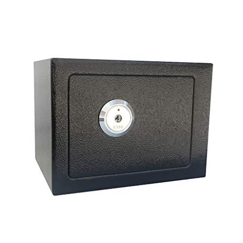 Veiligheidsdoos voor waardevolle opslag van documenten klein staal kluis met noodkey - 23 x 17 x 17 cm opbergdoos zwart
