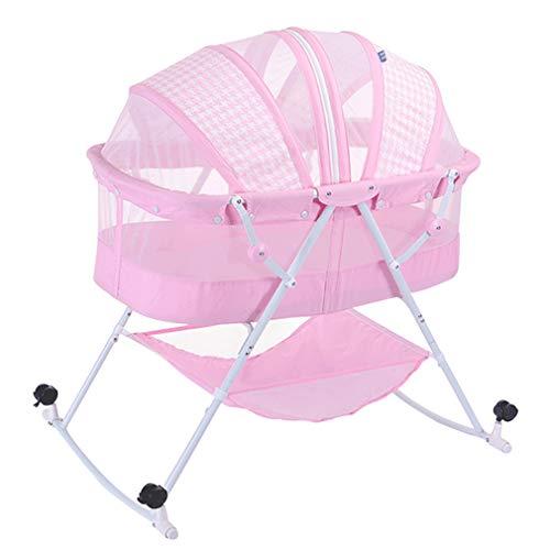 Berceau Bébé, Pliable Lit bébé 2 en 1, Transat Bébé Balancelle Maillé, Safety Lit de Voyage à roulettes Verrouillables et Rétractables, Pas Besoin d'installer (Pink)