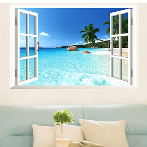 OUlike Removable Wall Paper Beach Sea 3D Window Scenery Wall Sticker Decor Decals Mural Home Decoration (Multicolor, 60 * 90CM)