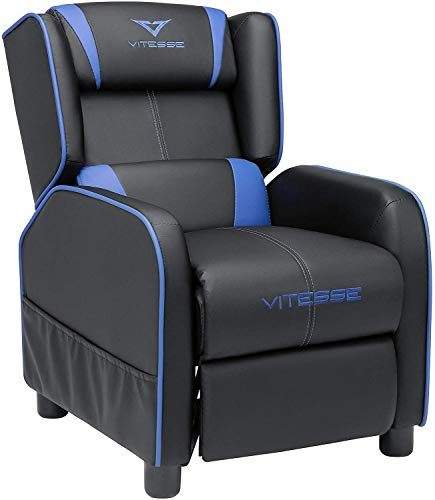 Vitesse Gaming Kids Sofa Recliner,Youth Children PU Leather Armchair Footrest,Padded Backrest, Ergonomic Racing Game Sofa for Toddler Boys Girls, Lightweight Sofa Chair (Blue)