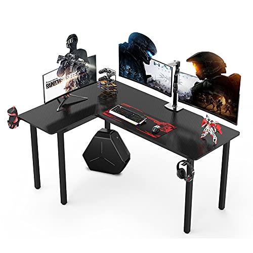 Dripex L shaped Corner Gaming Desk Large Carbon Fiber Desktop Surface, with Cup Holder,Mouse Pad,Gamepad & Headphone Holder Computer Table Workstation Black