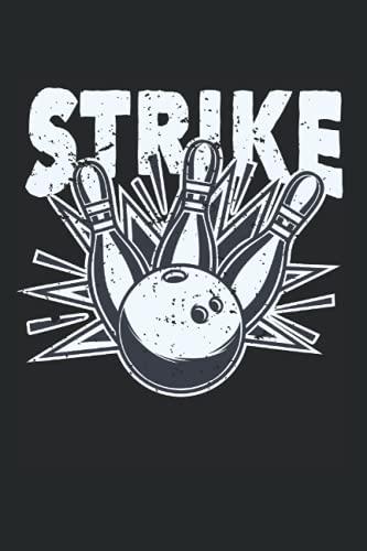 Strike: DIN A5 Kariert 120 Seiten / 60 Blätter Notizbuch Notizheft Notiz-Block Bowling Bekleidung zum bowlen für Bowler Verein