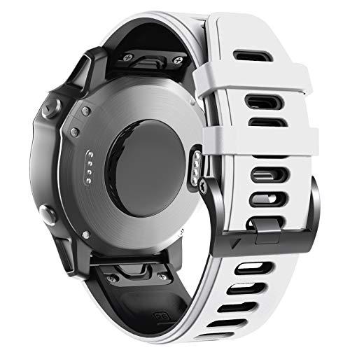 ANBEST Pulsera de Silicona Compatible con Fenix 6X/Fenix 5X Correa, Pulsera de Repuesto de 26mm con Liberación Rápida para Fenix 5X Plus/Fenix 6X Pro/Fenix 3/Fenix 3HR, Blanco/Negro
