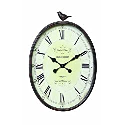 Creative Co-op Oval Metal Wall Clock with Bird