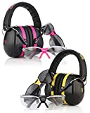 TRADESMART Pink Ear Muffs & Clear / Tinted Gun Safety Glasses - UV400 . Anti Fog