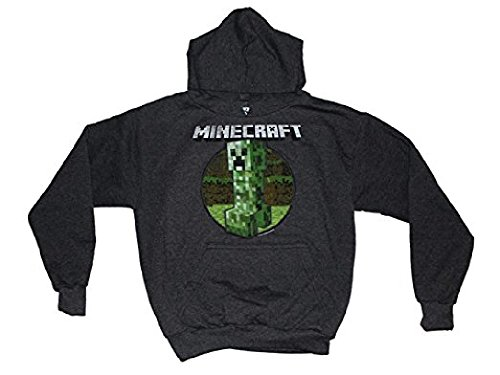 Minecraft Boys Retro Creeper Pullover Hoodie (Charcoal Heather, X-Large)