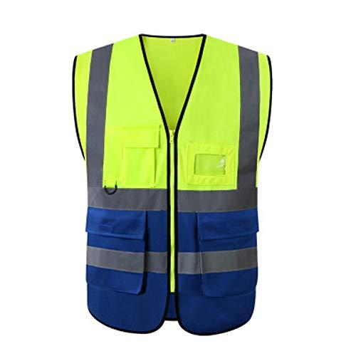 Warnweste mit Taschen Reflexstreifen Reißverschluss Sicherheit Arbeitskleidung Sicherheitsweste