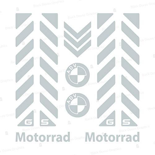 7pcs Kit Bandes réfléchissantes avec GS Compatible pour Vélo en Aluminium Touratech BMW Motorrad F650 F700 F800 R1150 R1200 GS GSA Adventure (White Light Silver)