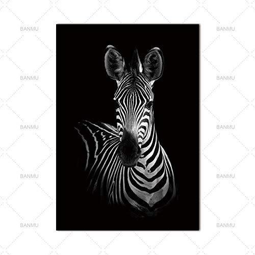 YAZHIQT Canvas Picture Print,Canvas Dier Schilderij Schattig Dier Zebra Picture Wall Art Zwart En Wit Foto Print Schilderij Thuis Woonkamer Decoratie Geen Frame 50×70cm No frame