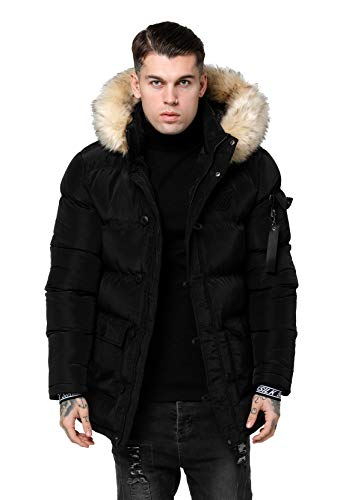 Sik Silk SS-15037 Puff Shiny Parka Jacket - Black X-Small Black
