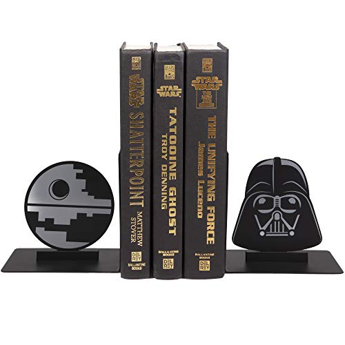 Star Wars Dark Side Buchstützen – dekoratives Metall Darth Vader und Todesstern Designs