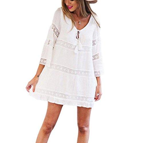 Ansenesna Kleid Damen Boho Sommer Kurz Locker Alltag Mini Sommerkleider Spitze Strandkleid Mit 3/4 Ärmeln Weiß (L, Weiss)