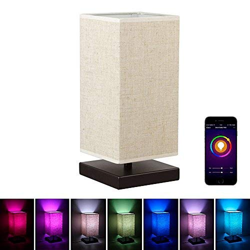 Alexa WiFi Smart Wood Table Lamp, Dimmable Multicolored Color Changing LED Light, with Fabric Shade and Solid Wood, Smartphone Control Work with Alexa