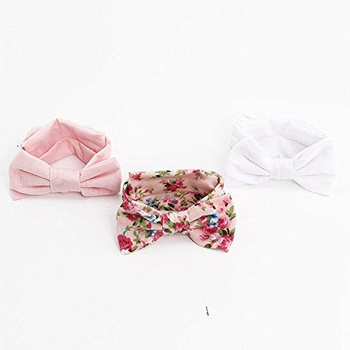 MultiWare 3pcs Newborn Headband Cotton Elastic Baby Print Floral Hair Band Bow-knot