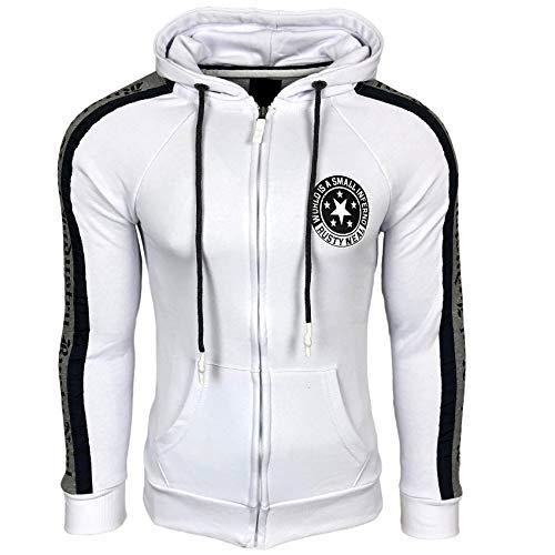 Sweatshirt Herren Jacke Sweatjacke Designer Hoody Fashion Fit S M L XL XXL 79, Farbe:Weiß, Größe:S