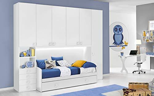 Dafne Italian Design Dormitorio completo con puente, blanco (doble cama individual y armario) (300 x 96 x 259 cm)