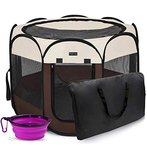 HEPEENG Portable Foldable Pet Playpen and Puppy playpen Pet Tent with Carrying Case Collapsible Travel Bowl Indoor/Outdoor Use with Water Resistant and Removable Shade Cover for Dog/Cat/Rabbit/Pet