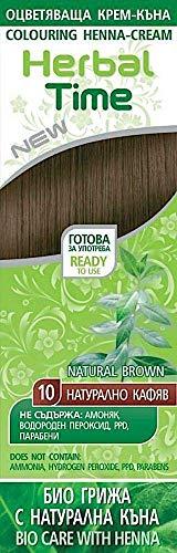 Haarfärbecreme mit Henna und Nesselextrakt - Farbe Natürlich Braun 10, ohne Ammoniak, ohne Sulfat, ohne Parabene
