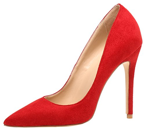 AOOAR Damen High Heel Klassische Rot Wildleder Büro Pumps EU 45