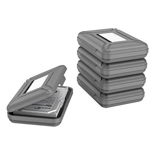 【5個セット】Yottamaster 3.5インチ ポータブル ハードディスク専用 保護収納ケース HDD保管ボックス 静電気防止/防湿/防塵/耐衝撃 ABS素材 書き込みラベル付き グレー[B4-5-GY]