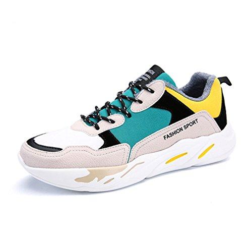 Chaussure de Course Running Homme Basket Mode Autommne Hiver Plat Style Multicolore Imperméable Jaune Coton 43
