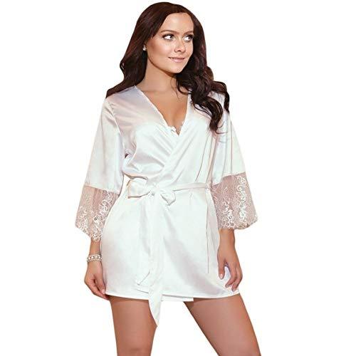Handaxian Damen Pyjama Robe Abendkleider Brautjungfer Robe Unterwäsche Satin Pyjama Retro Weiß M