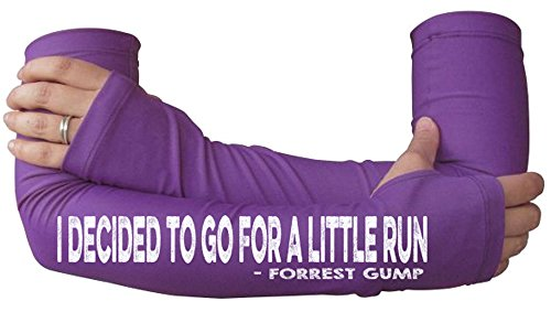 Running Arm Warmer for Women - Compression Sleeves for Runners with Thumbholes -Forrest Gump - Go for a Little Run Purple
