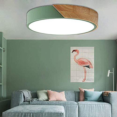 ZWW Ronde LED plafondlamp baby slaapkamer lamp woonkamer houten kinderkamer groen frame, gewone lamp