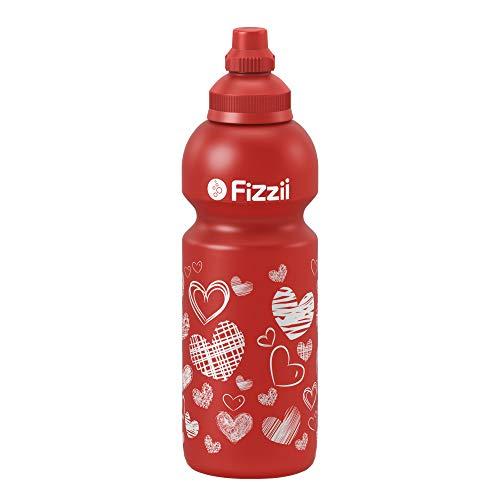 Fizzii Kinder- und Freizeittrinkflasche 600 ml (auslaufsicher bei Kohlensäure, schadstofffrei, spülmaschinenfest, Motiv: Herzen)