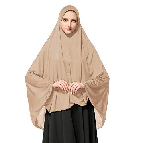 Deloito Damen Kopftuch Muslimischen Gebet Halstuch Lange einfarbig Khimar Tuch Hijab Weich Gemütlich Unter Schal (Braun,XX-Large)