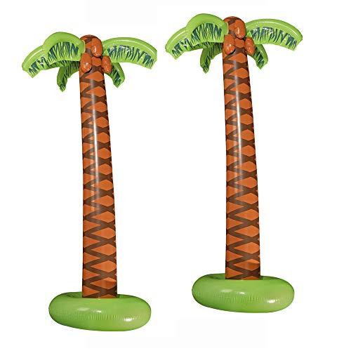 Widmann 10136169B - Aufblasbare Palmen, 2 Stück, Höhe circa 180 cm, Beachparty, Dekoration, Mottoparty, Karneval