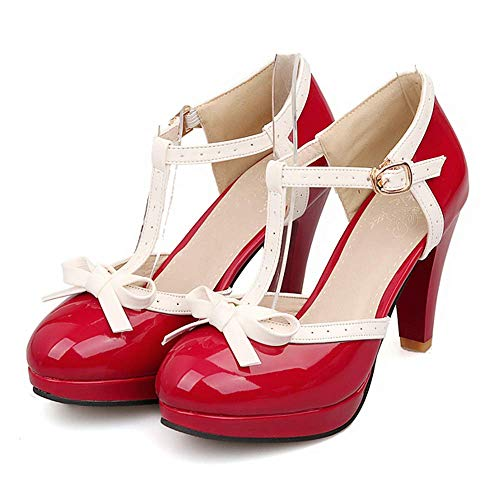 Robasiom Fashion T Strap Bows Womens Platform High Heel Pumps Shoes (7.5, Red)