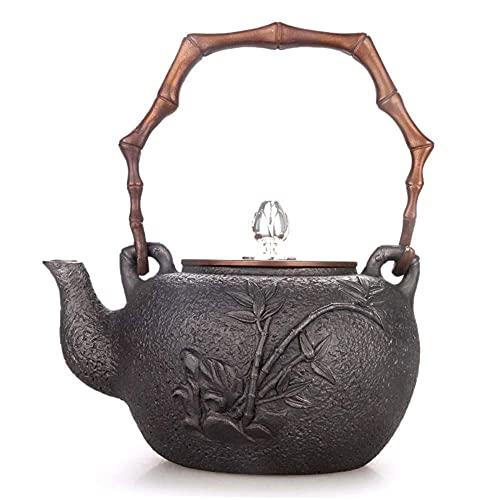 鋳鉄アイアン玄Tietangアイアンポット日本南部の鋳鉄鍋ギフトボックスプラム竹旧アイアンポットクラフトコーティングされていない1.3L