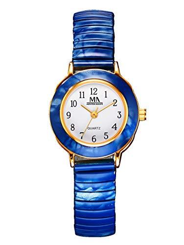 Meister Anker Damen Analog Uhr in Goldfarben mit Armband in Blau aus Metall