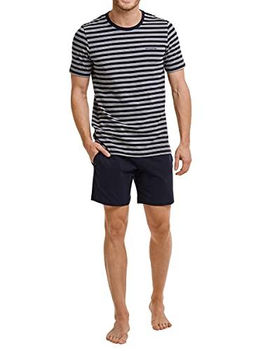 Marc O'Polo Body & Beach Herren Lounge M-LOUNGESET Crew-Neck Zweiteiliger Schlafanzug Kurz, Blau (Nachtblau 804), M