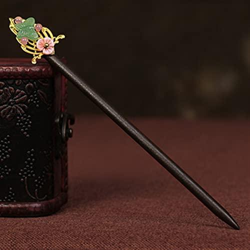 Chinesische Haarnadel Aventurin-farbige Glasur-Blumen-Haarnadel, Haarverzierung, klassisches Pan-Haar-Zubehör, Holzstift (Metal Color : C)