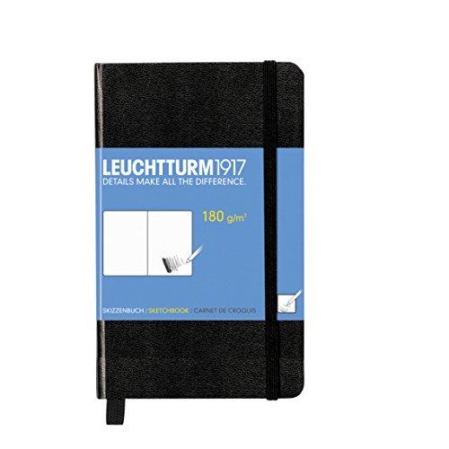 LEUCHTTURM1917 344661 Skizzenbuch Pocket (A6), Hardcover, 96 Seiten (180 g/qm), Schwarz