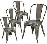 Yaheetech Lot de 4 Chaise de Cuisine Tabouret Salle à Manger Industrielle 45 cm de Hauteur Empilable Metallique avec Dossier...